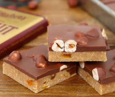 Even novices will be able to nail this simple hazelnut chocolate and apricot slice recipe