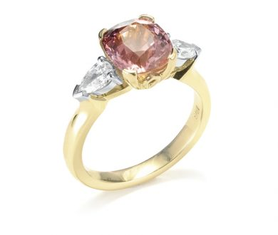 Peachy Spinel and Diamond Rose Gold Ring