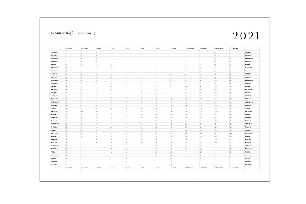 2021 A2 Wall Calendar