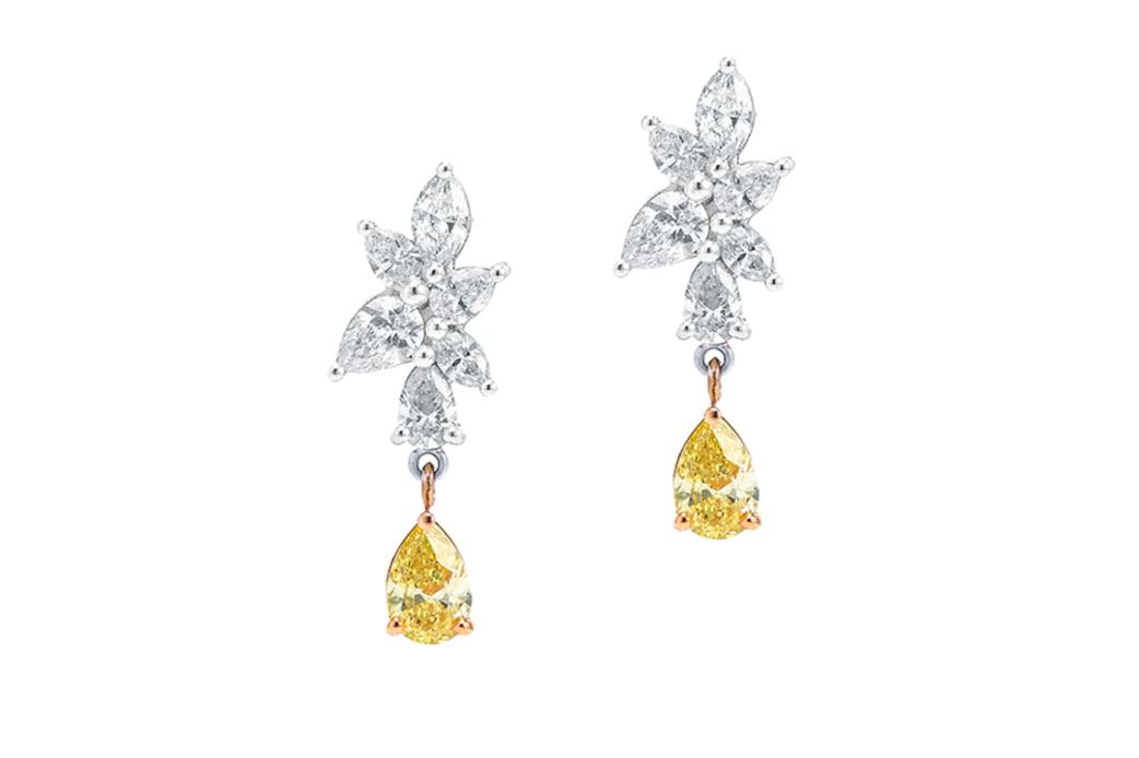 Life's Spark White and Yellow Diamond Earrings
