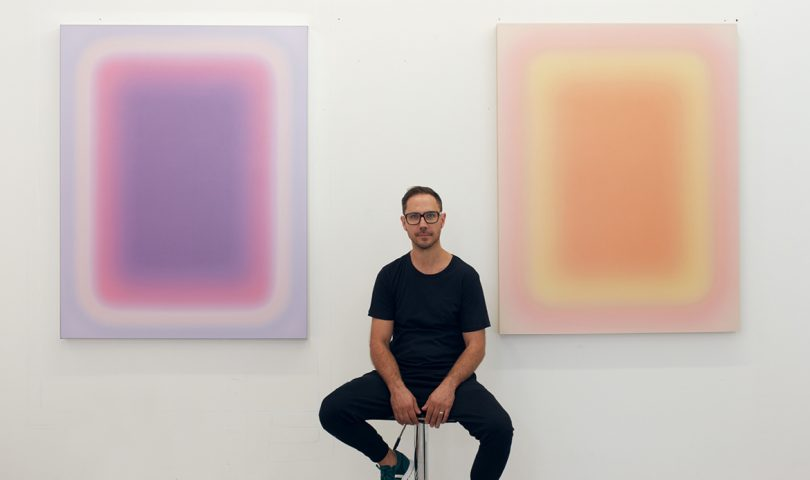 This in-demand artist's debut New Zealand exhibition is a vivid play of colour and light