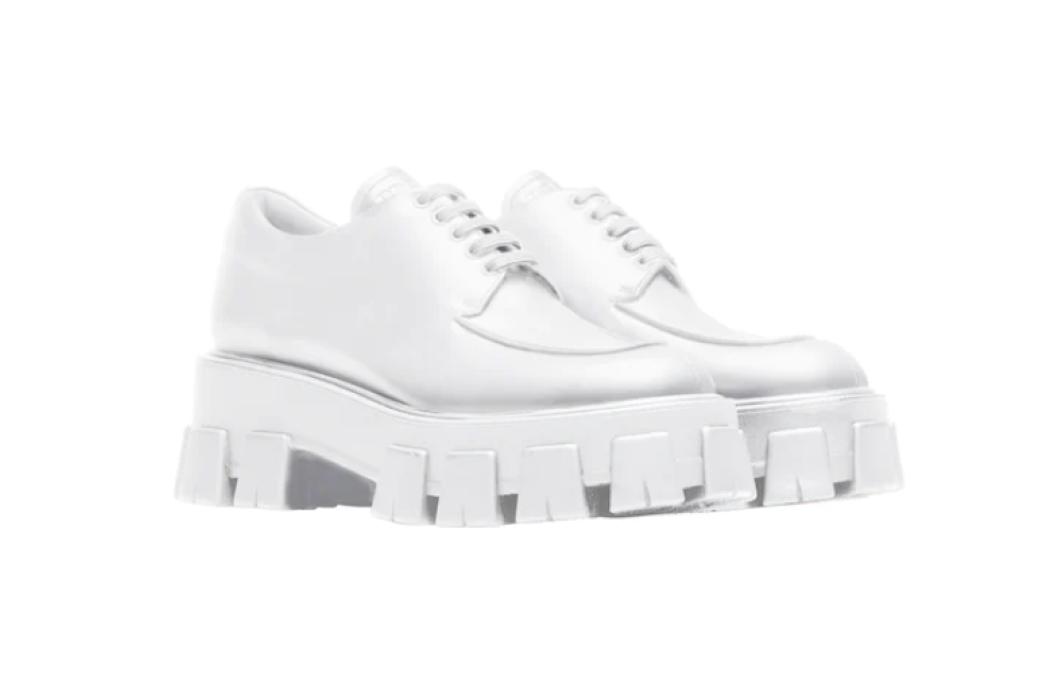 Prada Monolith brushed leather lace-up shoes