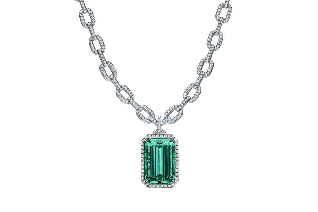 Tiffany & Co. Green Tourmaline and Diamond Pendant