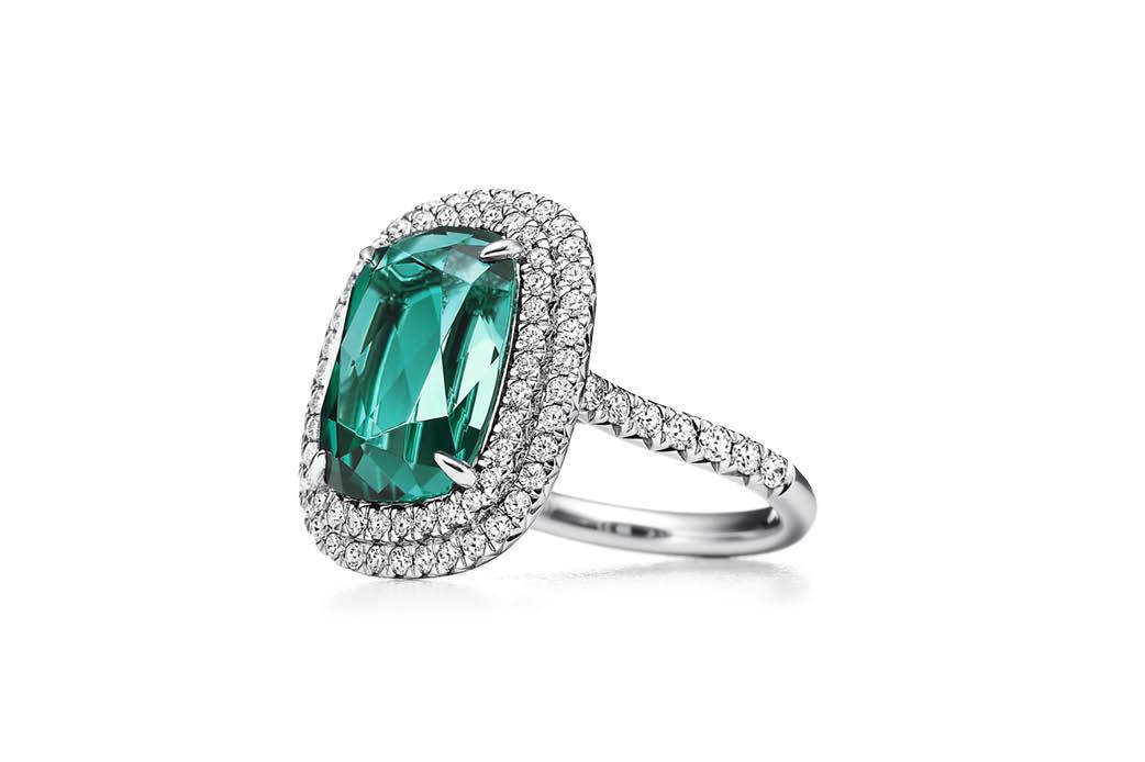 Tiffany & Co. Soleste Green Tourmaline and Diamond Ring