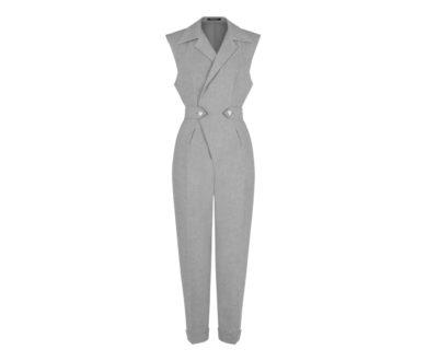 Cashmere blend flannel tailored jumpsuit