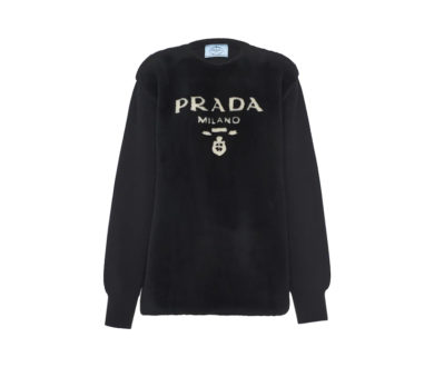 Intarsia shearling and cashmere sweater