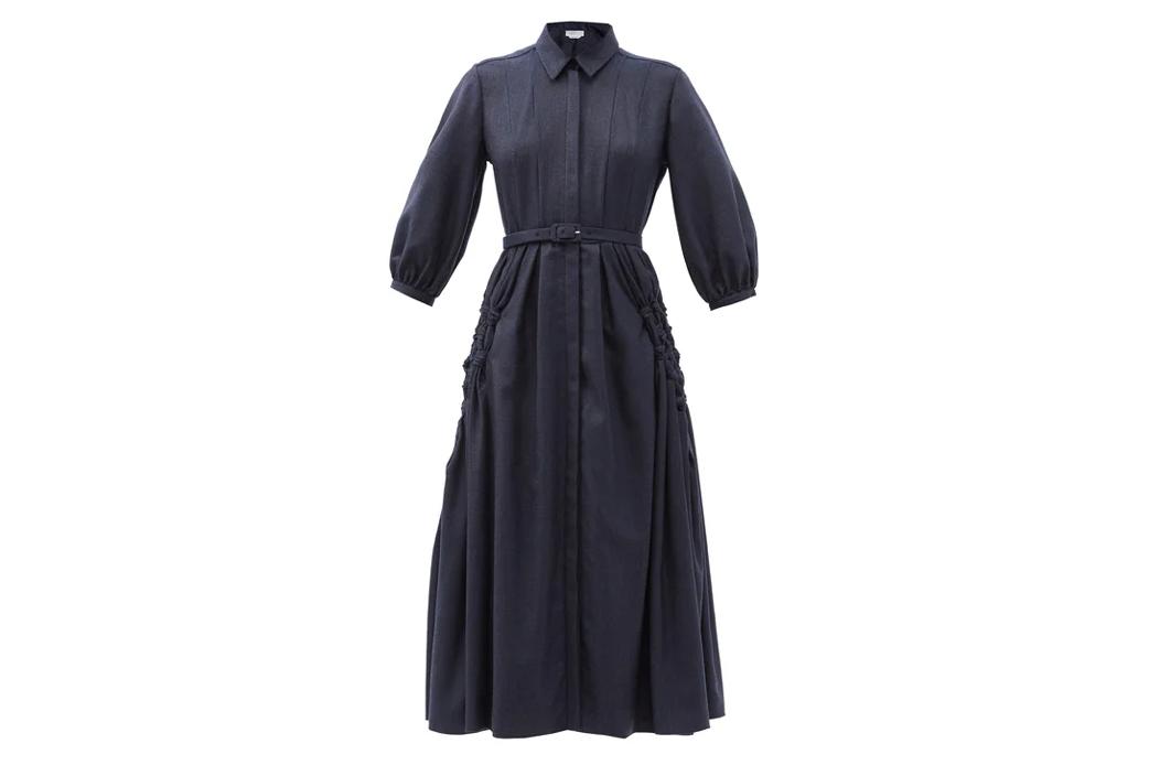 Gabriela Hearst Cheval cashmere midi shirt dress