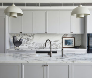 Sleek yet clever, this thoughtfully designed kitchen is the heart of this family home