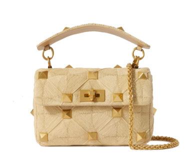 Valentino Roman Stud Raffia Shoulder Bag
