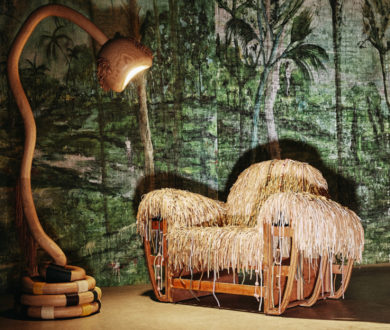Jungle chair and Snake floor lamp